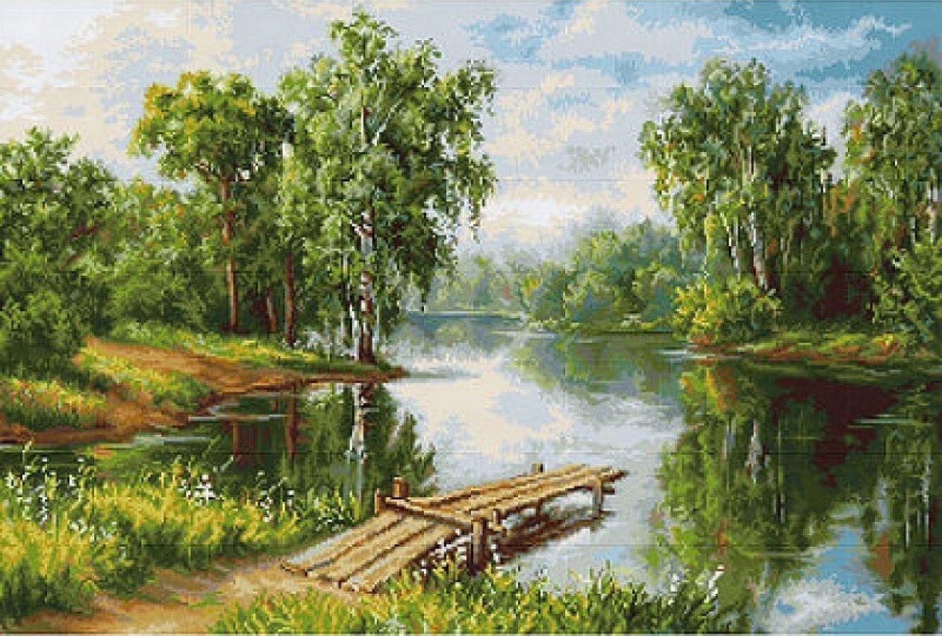 Картины летний пейзаж с речкой