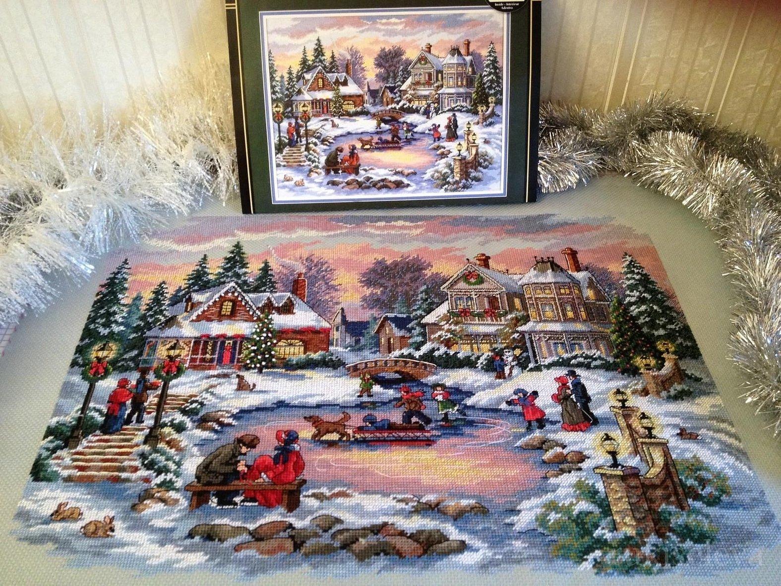 Набор вышивки крестом зимняя деревня от дименшенс