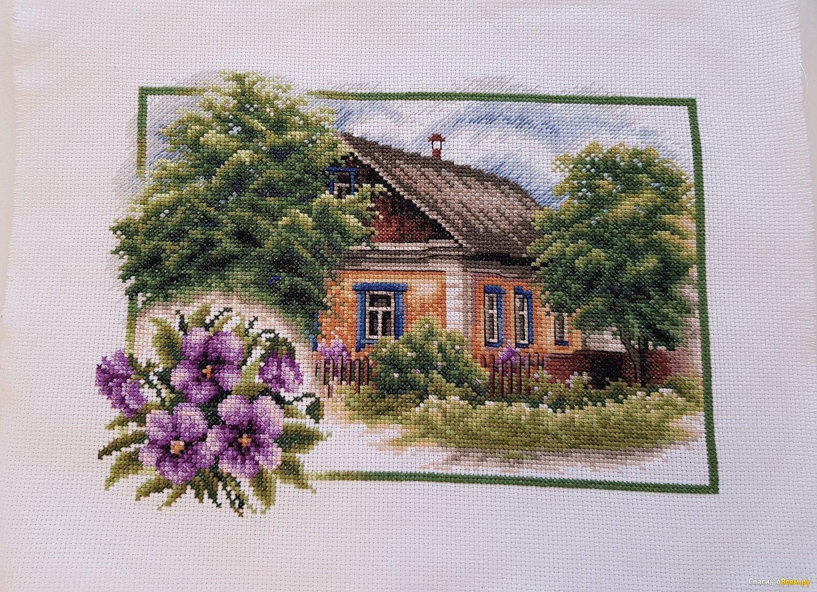 Вышивка крестом домик с сиренью