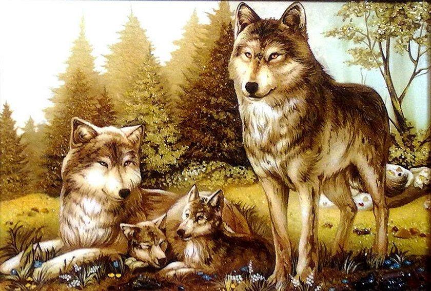 Картина волк волчица и три волчонка