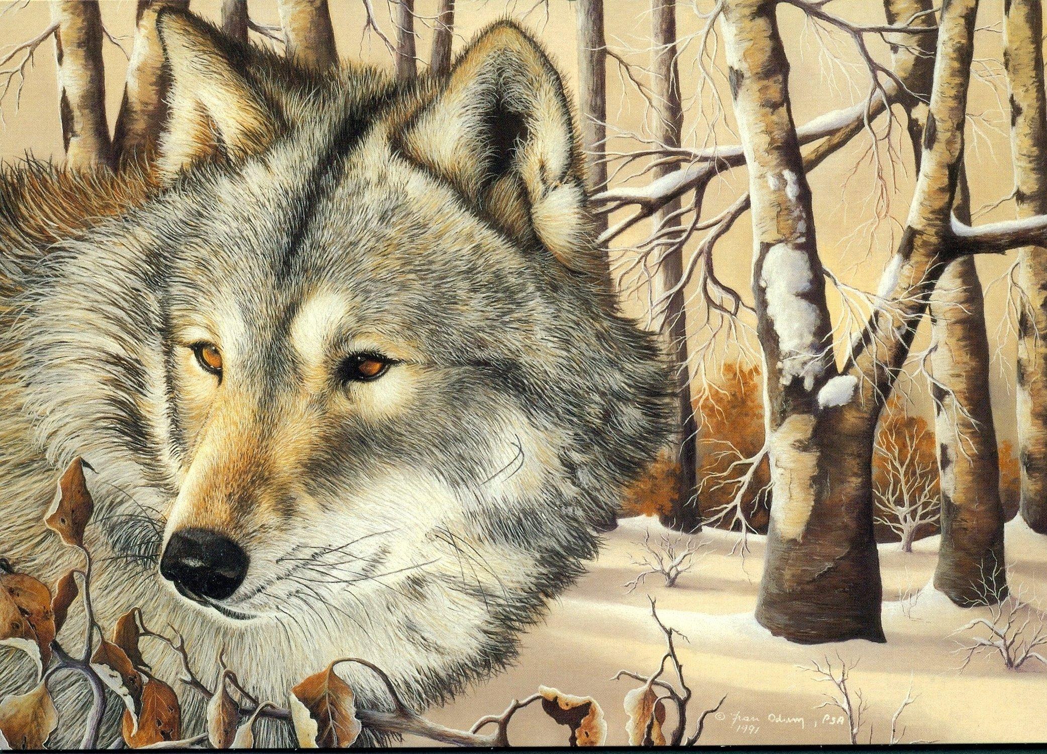 Вышивка крестиком волки в лесу