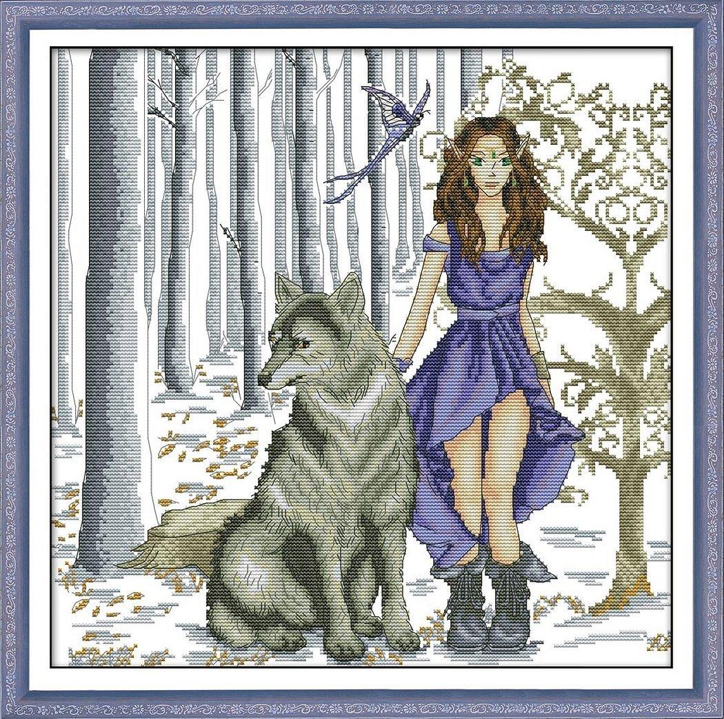 Вышивка волки девушка и волки