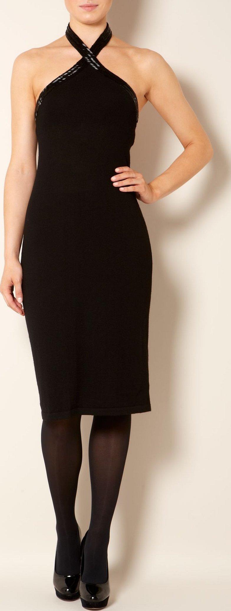 Чёрное коктейльное платье с американской проймой