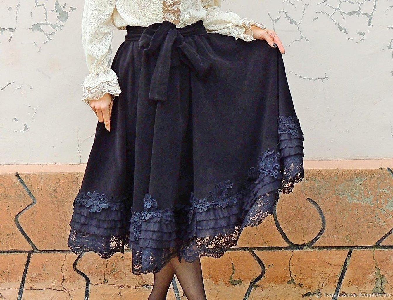 Длинные юбки с кружевным низом