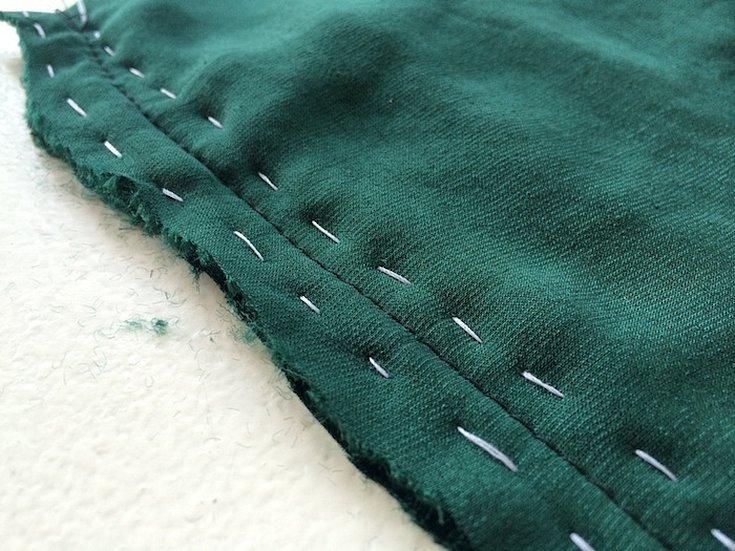 Шов на бархатной ткани