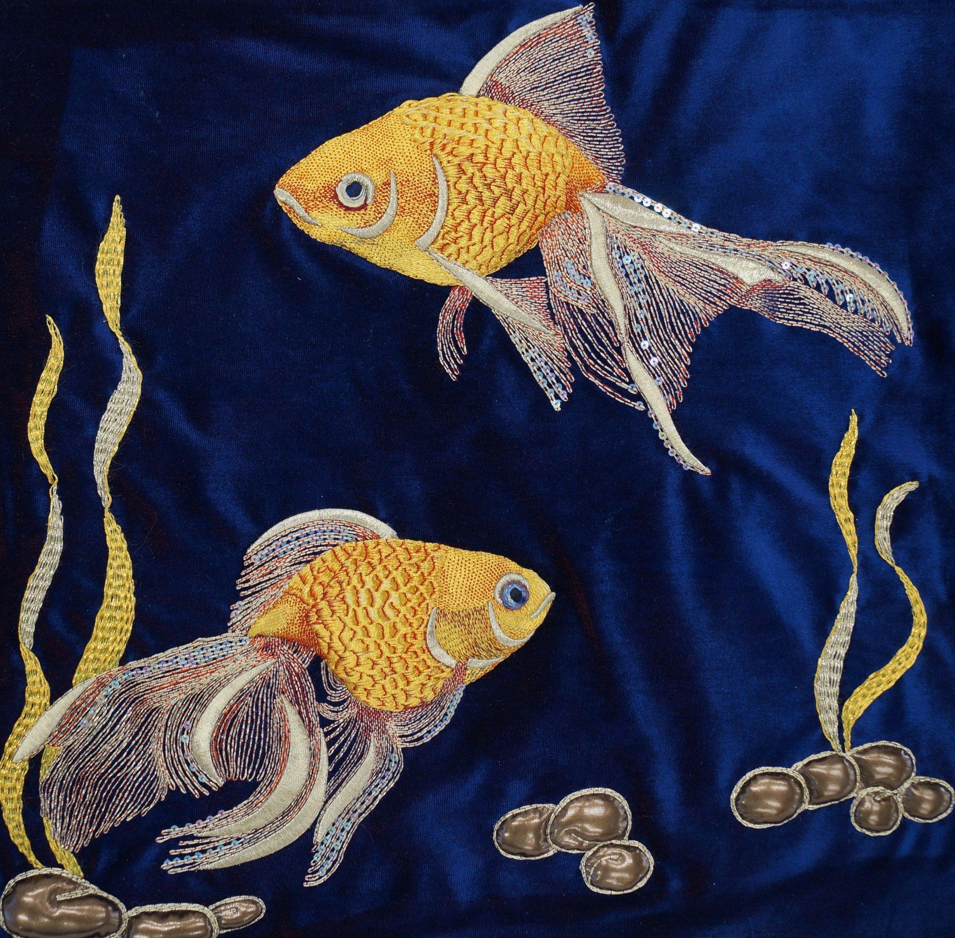 Вышивка гладью морская тема рыбки