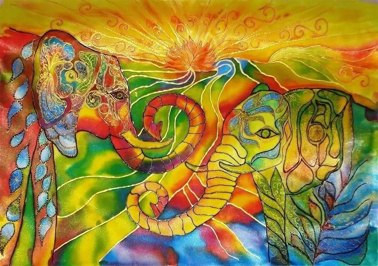 Картина батик слон