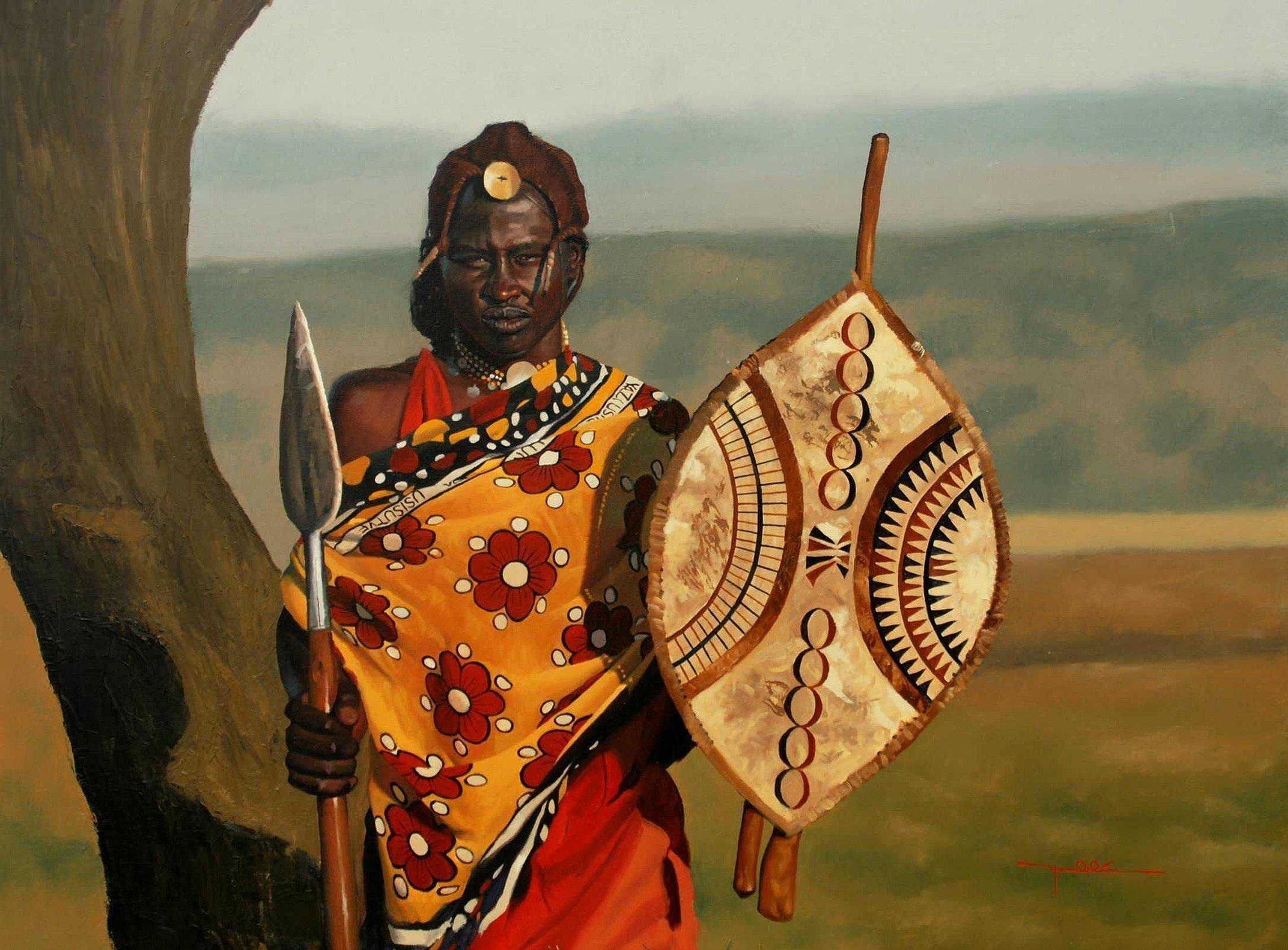Воины масаи в африке