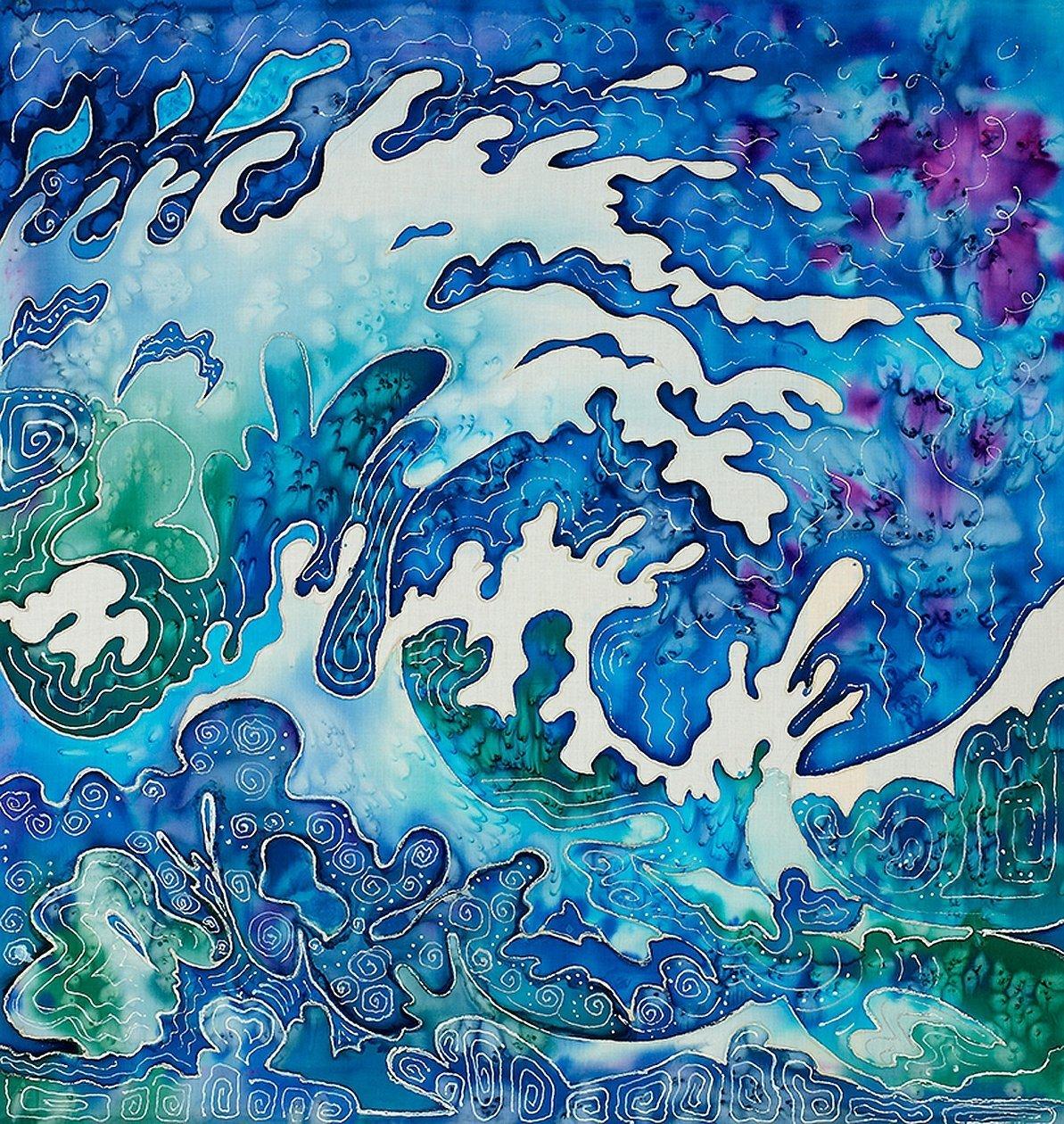 Жидкий акрил морская живопись