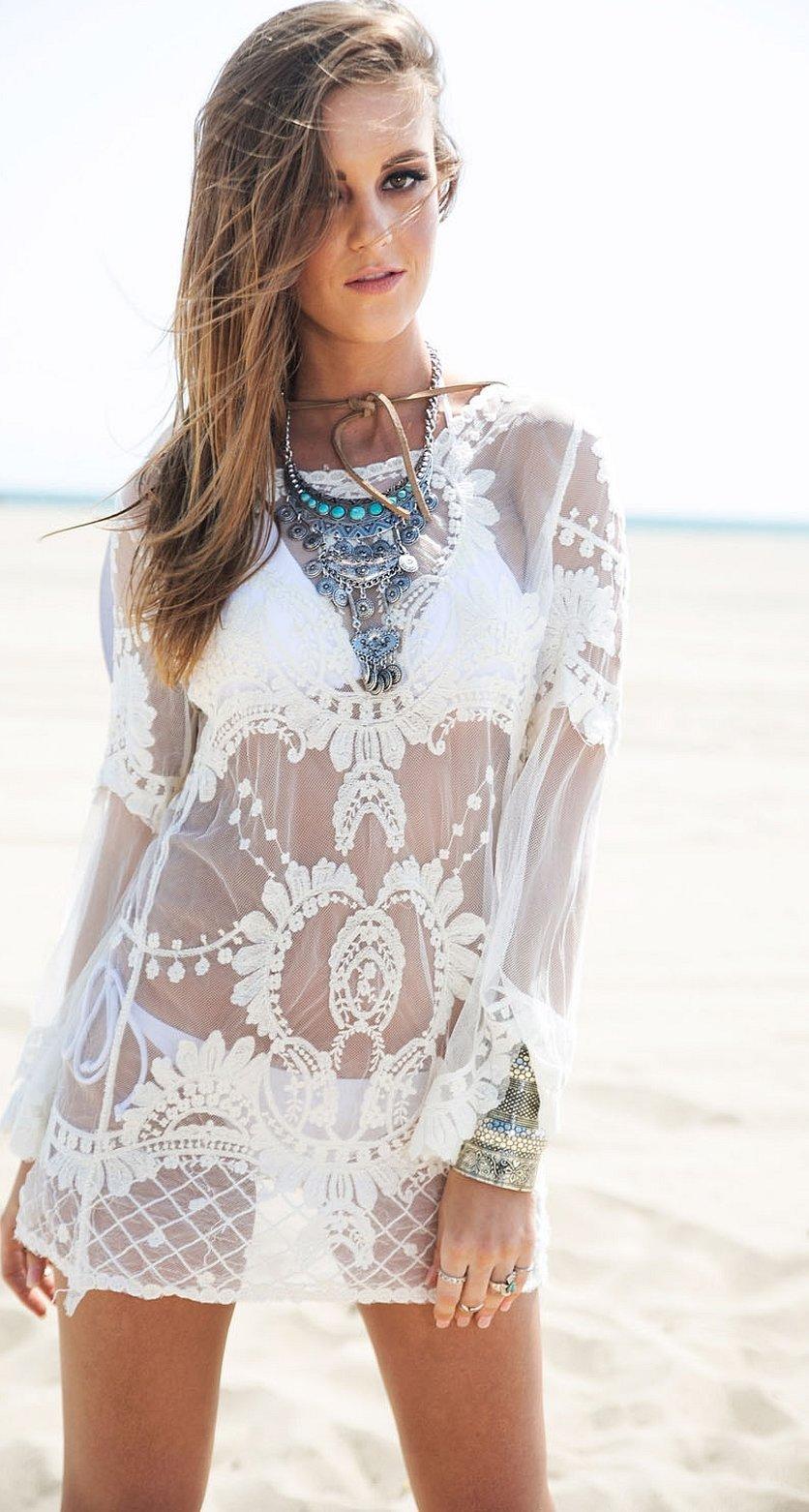 Туника белая пляжная с кружевом прозрачная