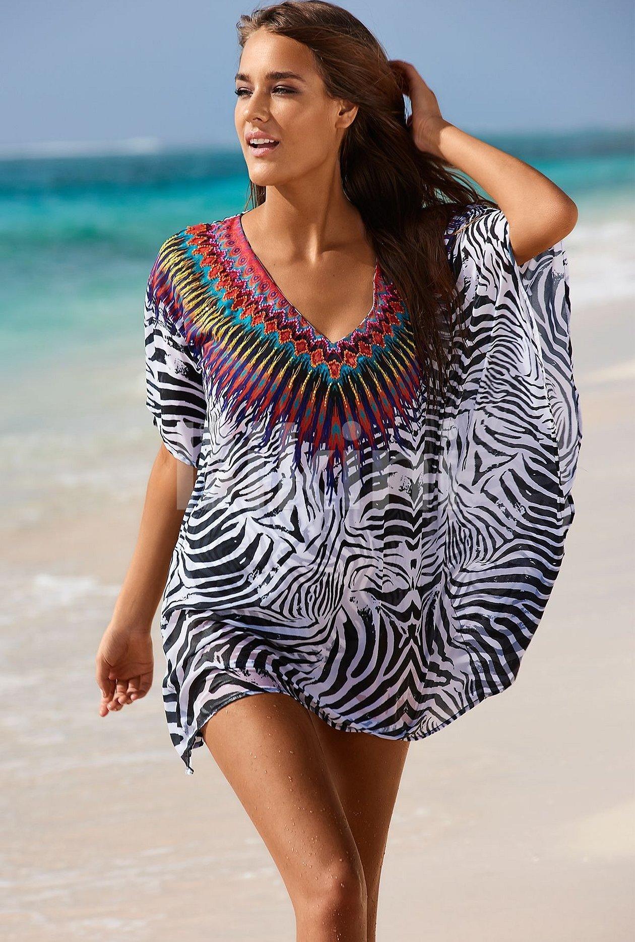 Туника пляжная зебра с украшением