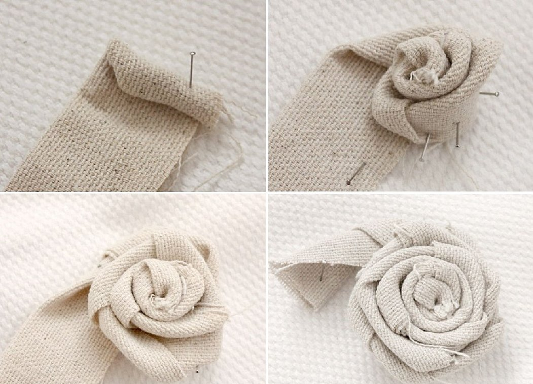 Цветы розы из мешковины