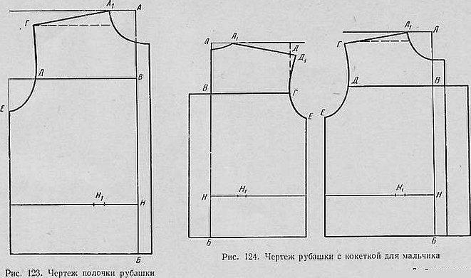 Схема чертежа спинки и переда