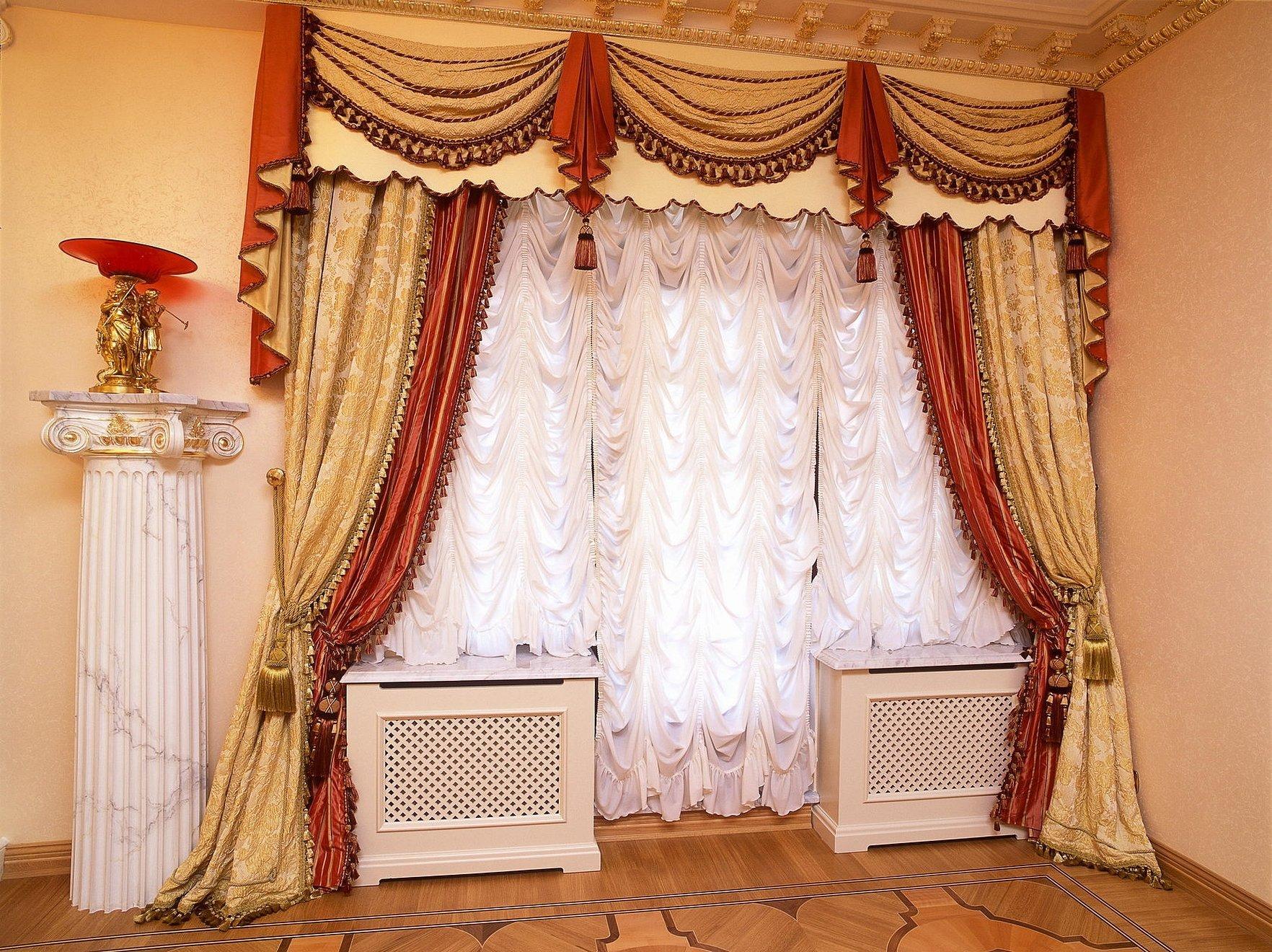 Шикарные шторы с ламбрекеном бандо