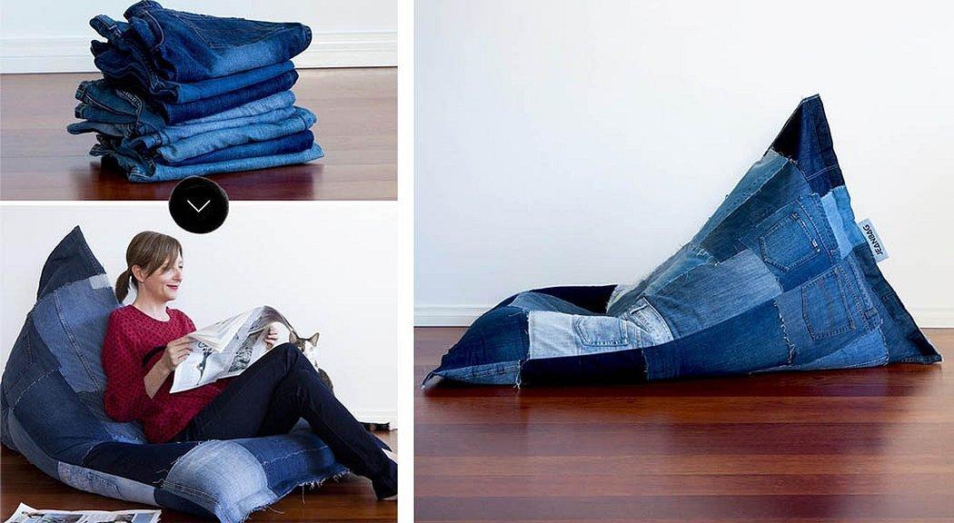 Мешок кресло из джинсовых кусочков