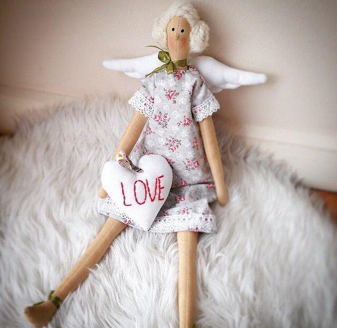 Маленькая кукла тильда ангел