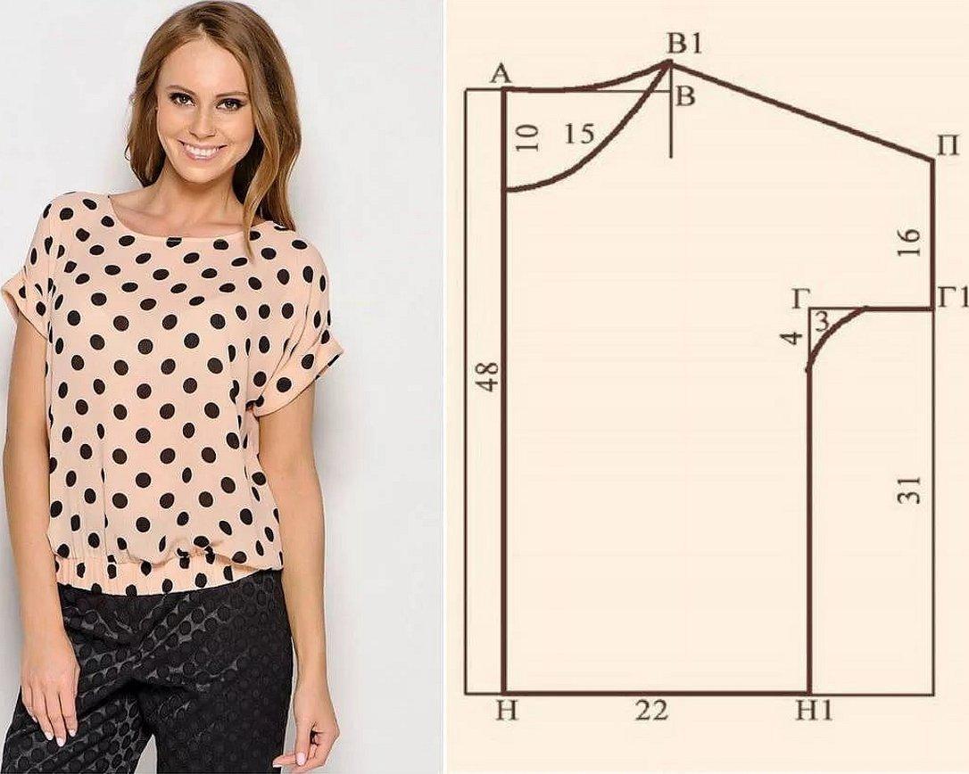 Простая блузка с коротким рукавом