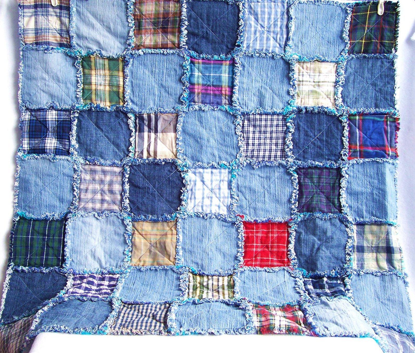 Лоскутное одеяло из квадратов из джинсов