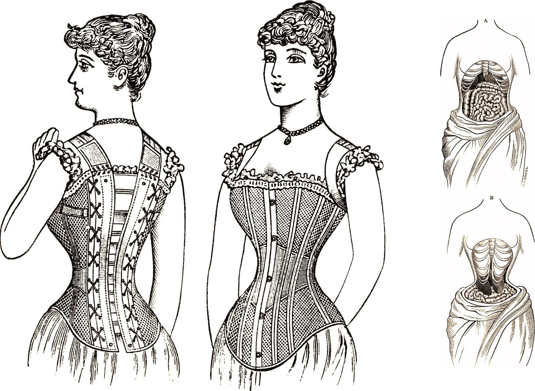 Старинные платья рисунки корсет