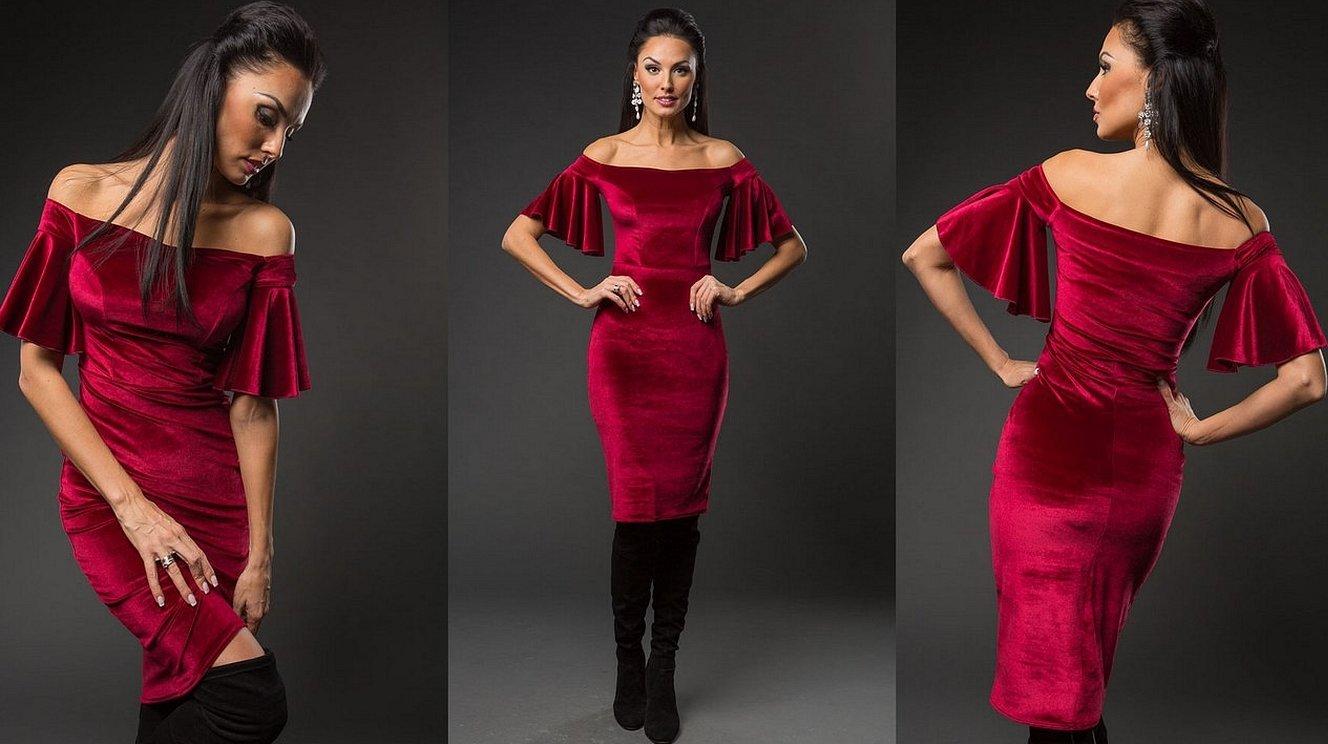 """Красное платье """"fatal"""" из бархата"""