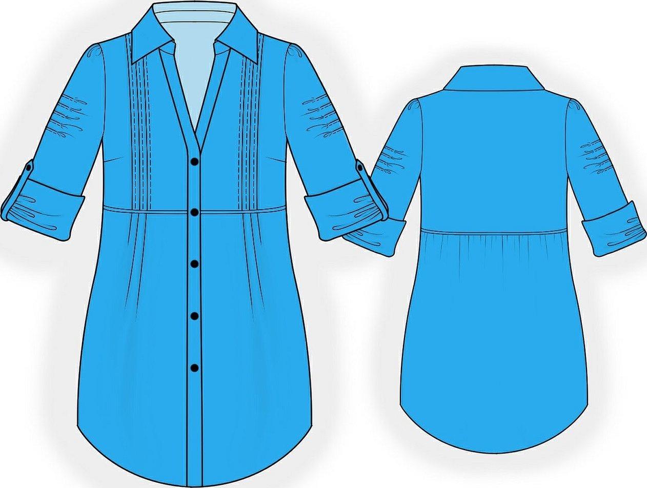 Технический эскиз платья рубашки