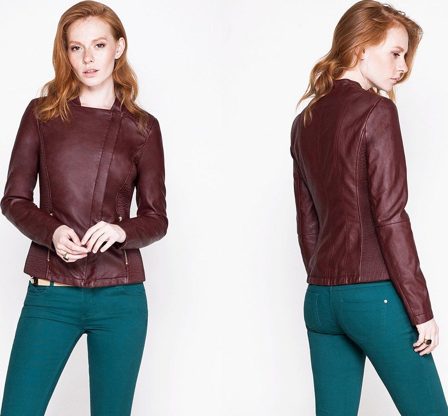 Кожаная куртка женская бордо