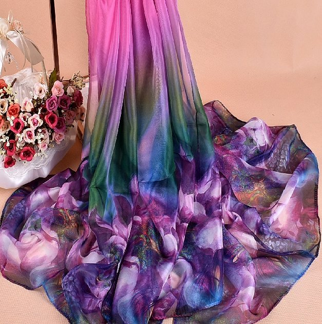 Летние шарфы женские шелковые и шифона