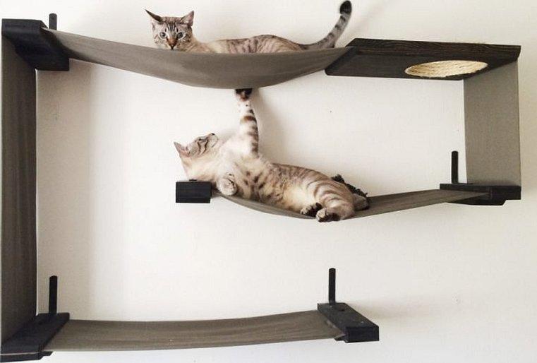 Полочки для котов на стене