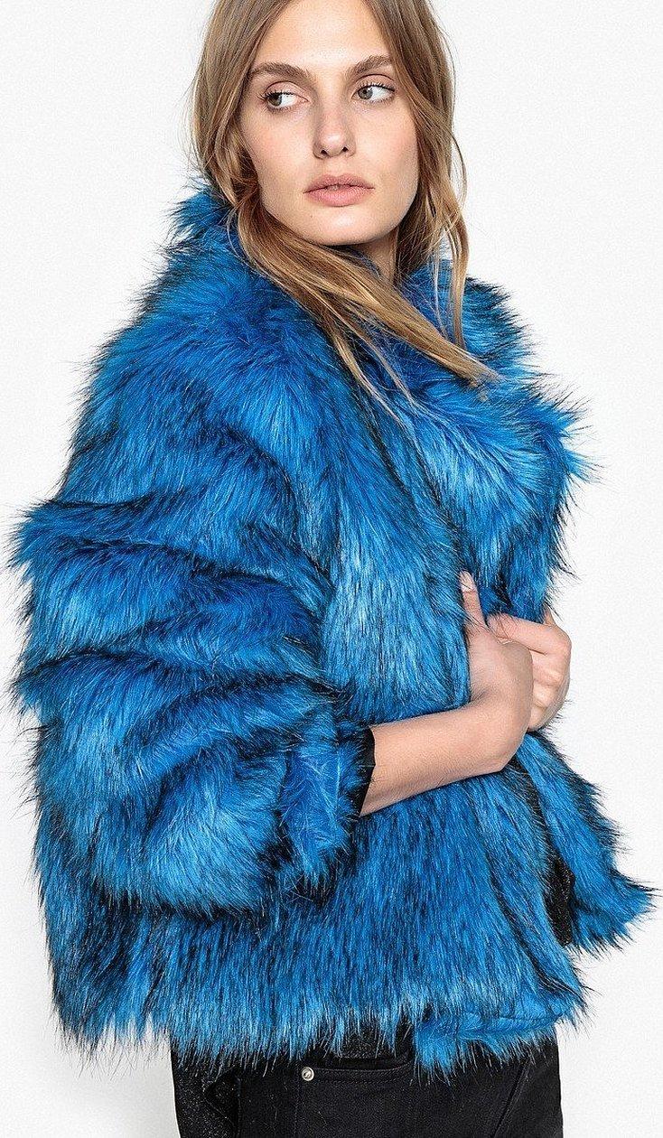 Синяя шуба из лисы