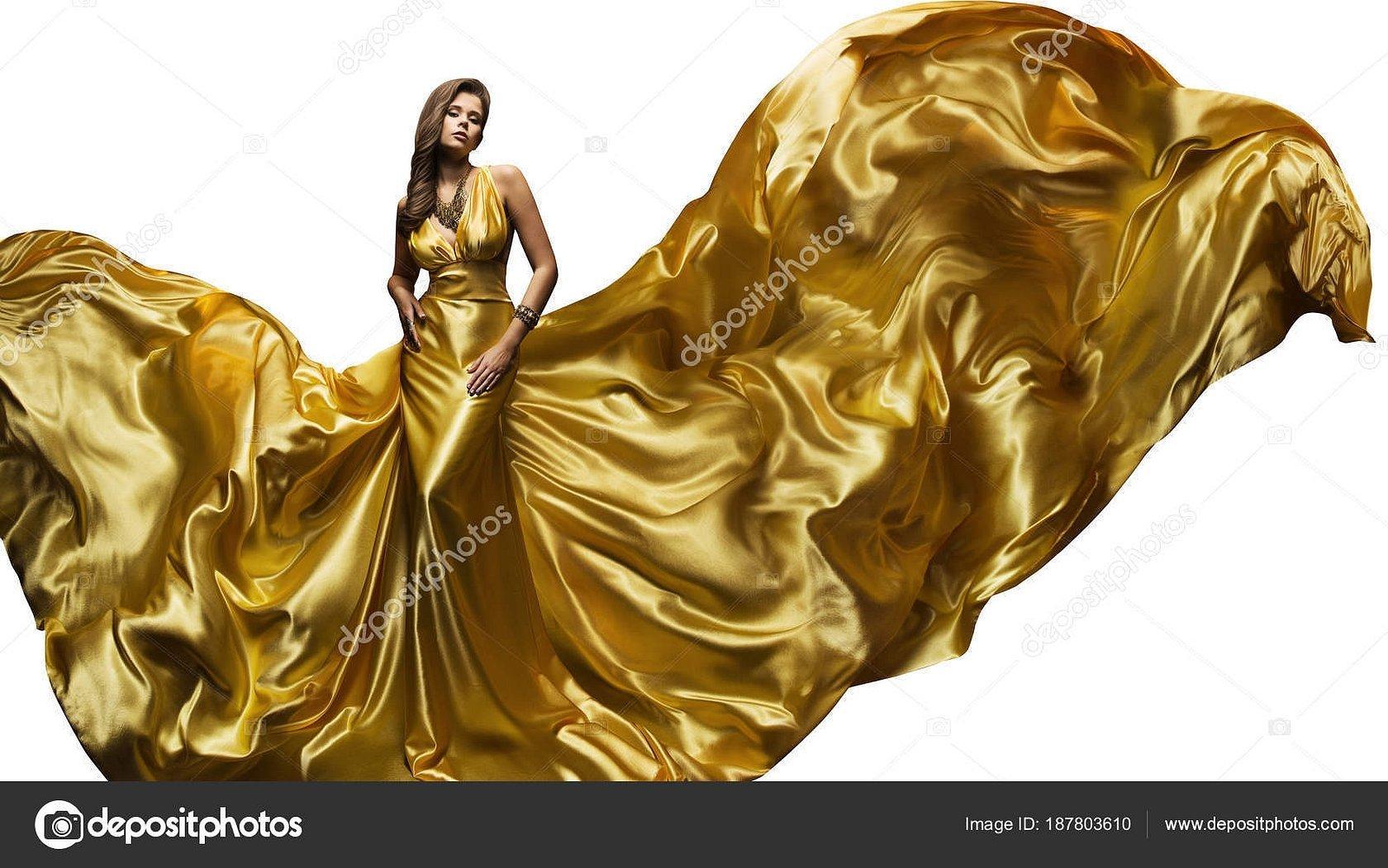 Девушка с платье золото вектор