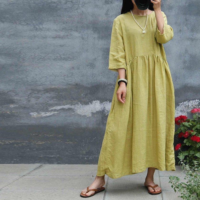 Винтажное льняное платье с рукавами