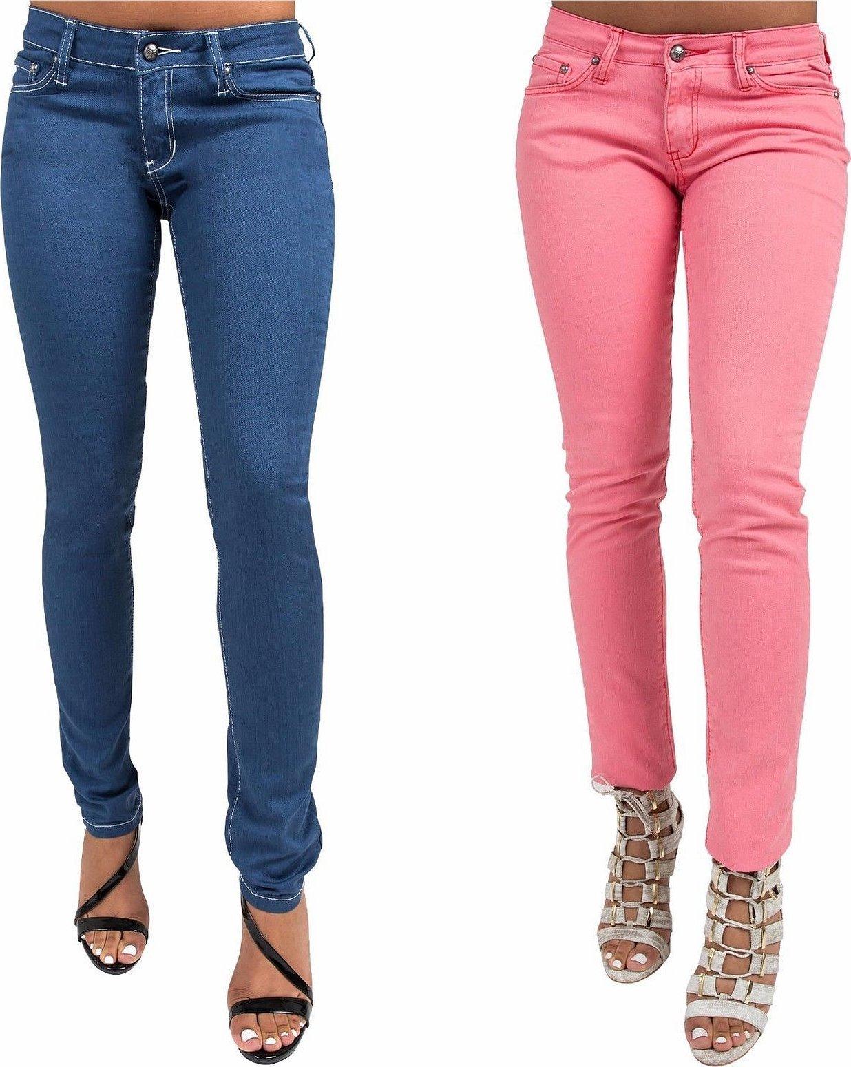 Женские узкие джинсы розовые
