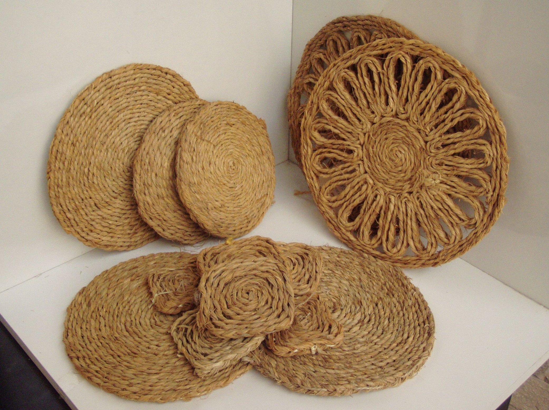 Коврик из джутовой веревки плетеный