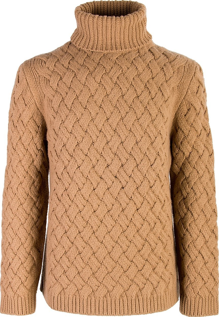 Вязаный коричневый свитер женский