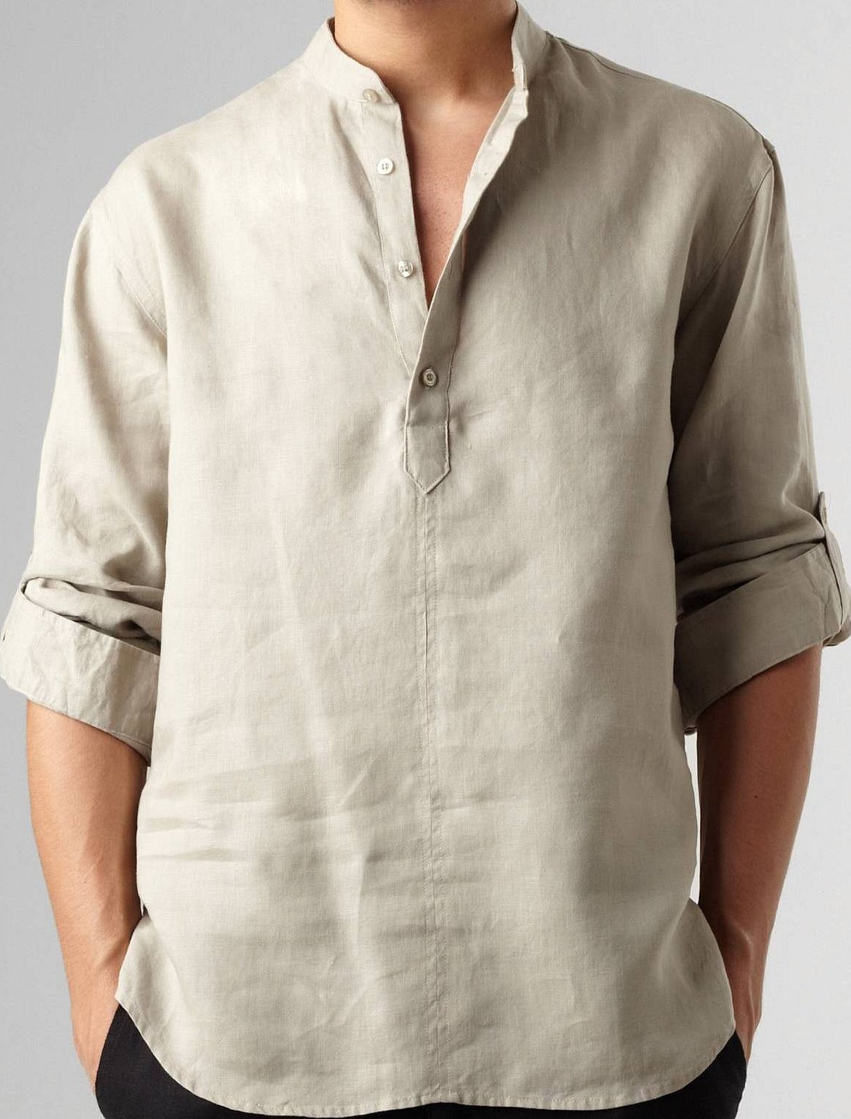 Мужская рубашка льняная свободного кроя