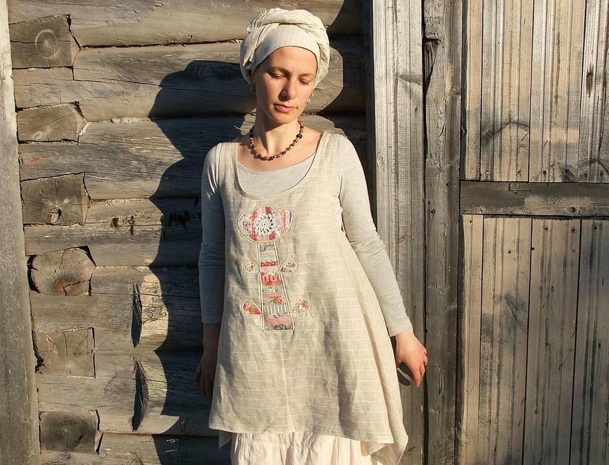 Сарафан из льна в деревенском стиле