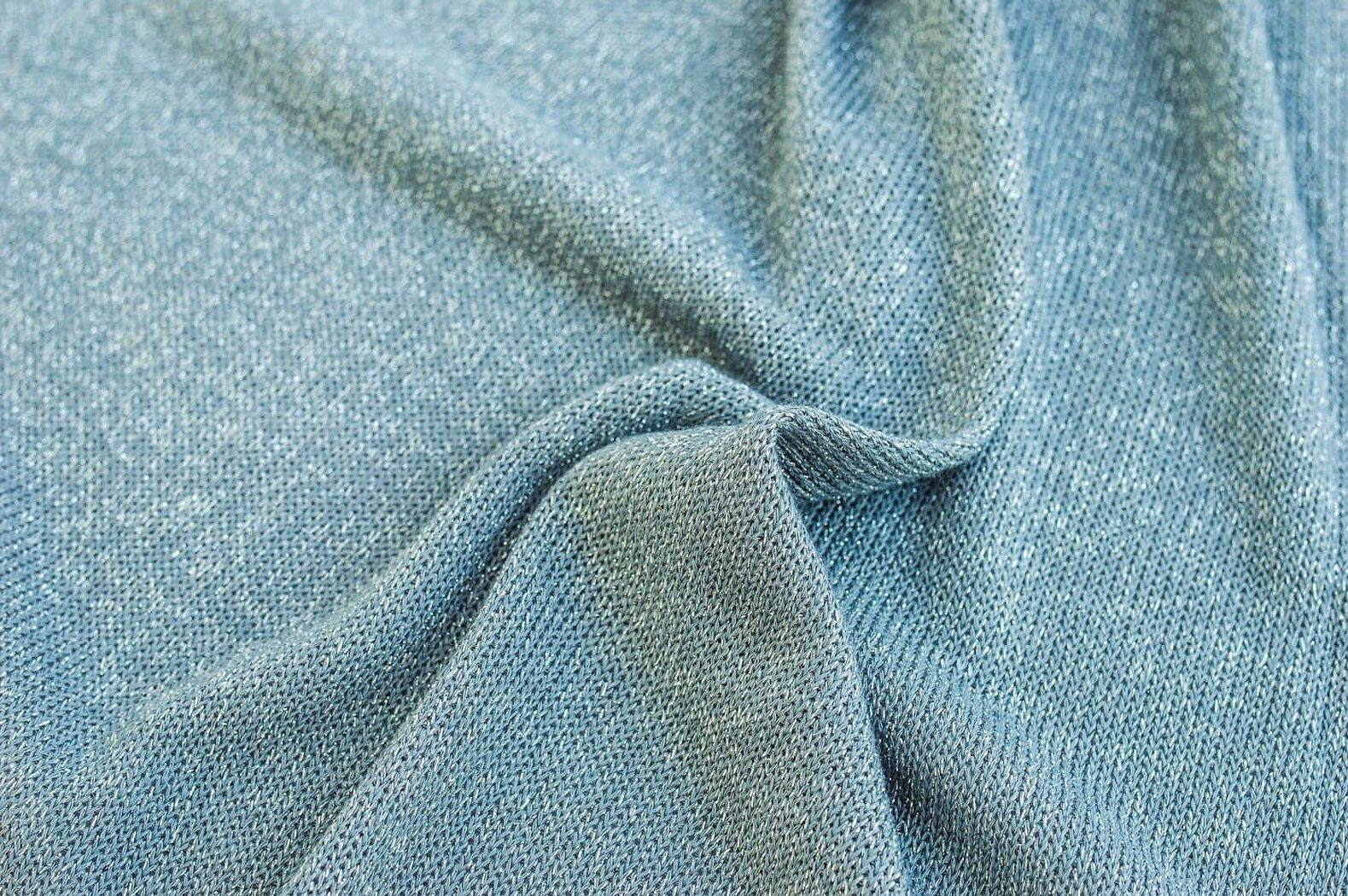 Трикотаж меланж ткань голубой