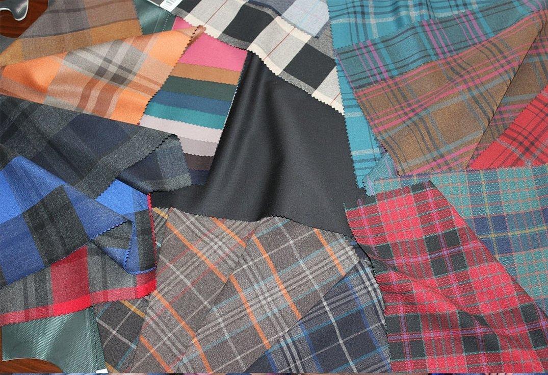 Голубая шотландка ткань шерсть