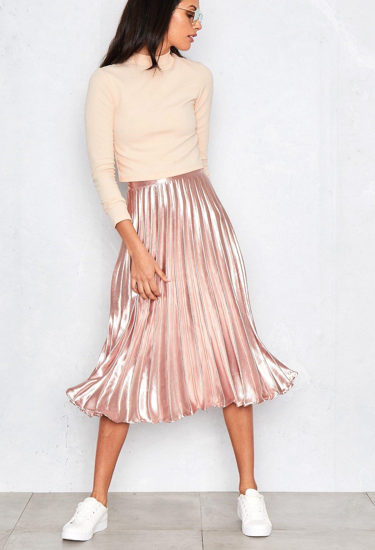 Плиссированная юбка миди розовая
