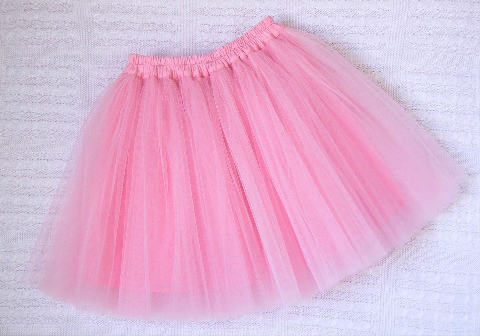 Розовая юбка из фатина для девочки