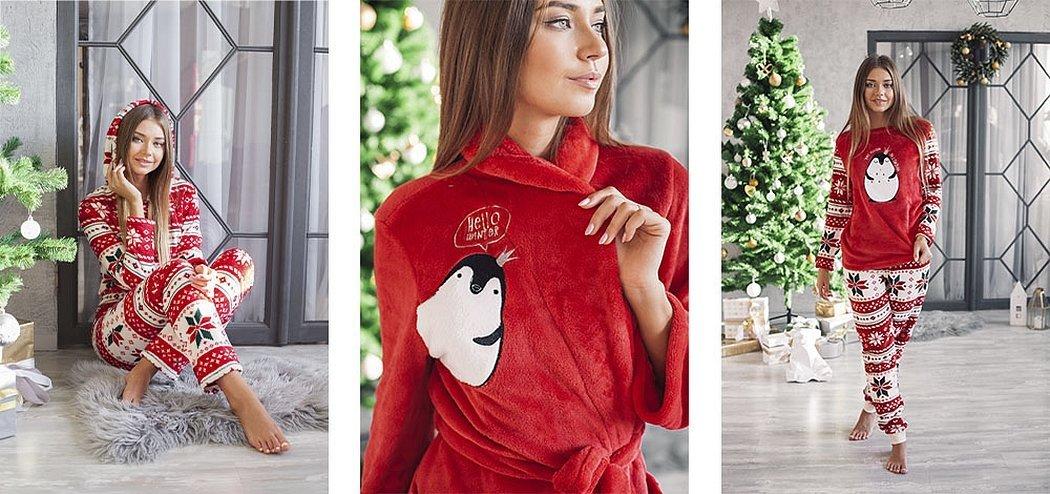 Трикотажные костюмы с новогодней тематикой для девушек