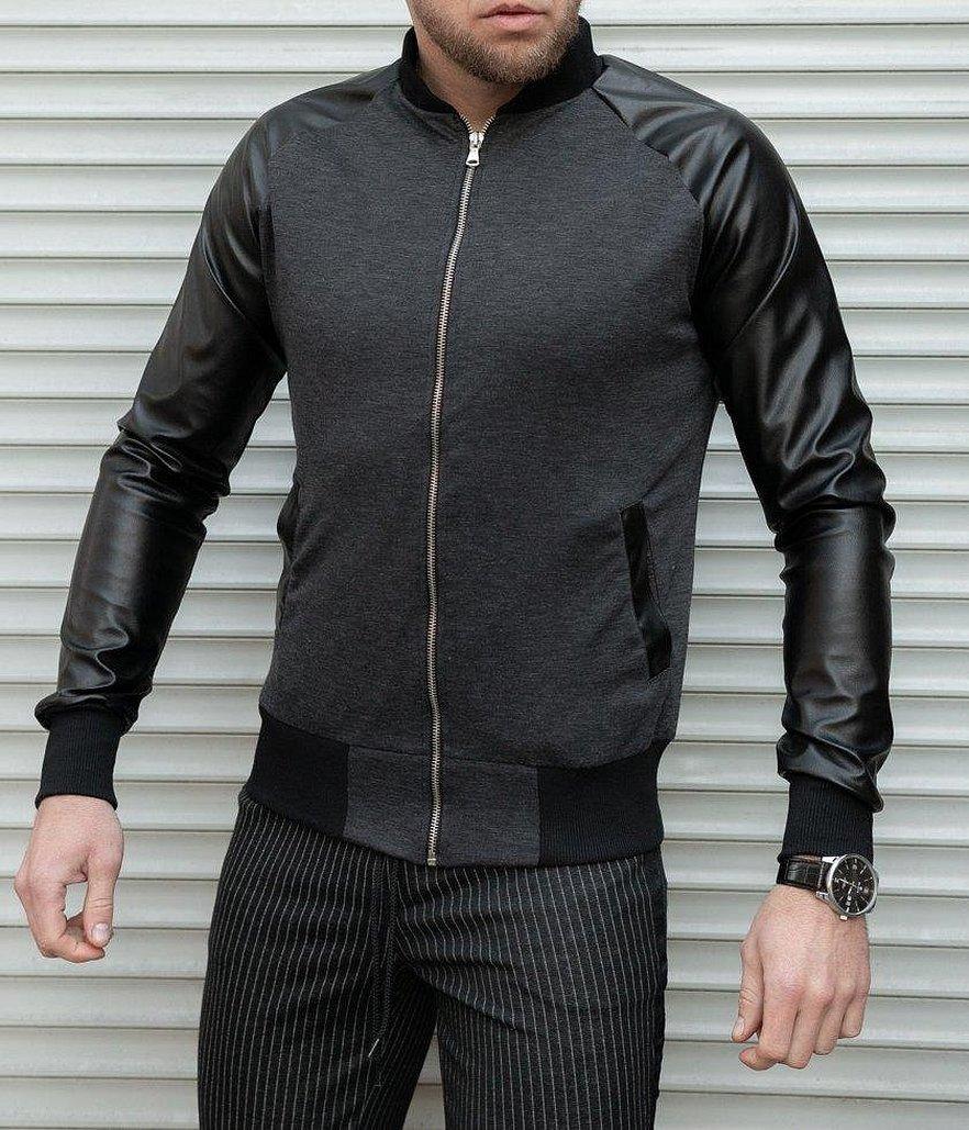 Куртка с кожаными рукавами мужская бомбер