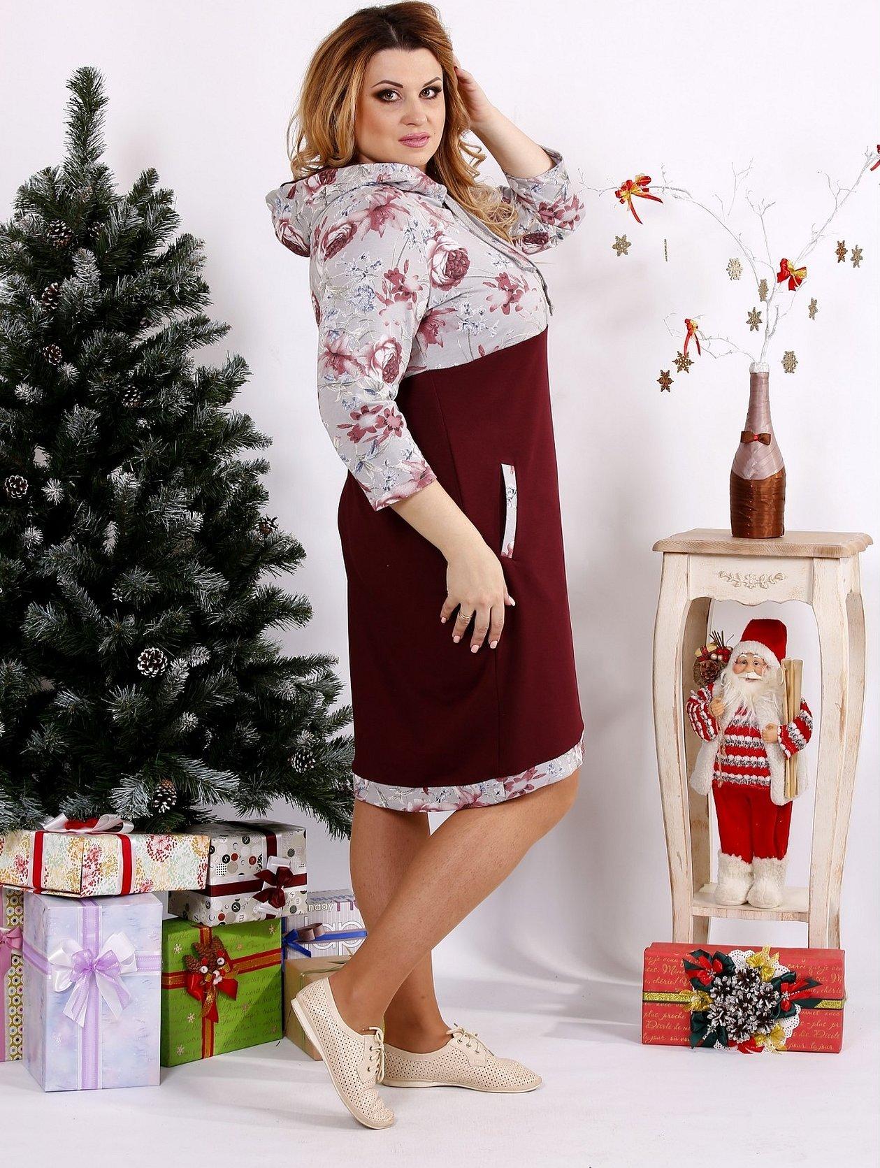 Женское нарядное платье бордо