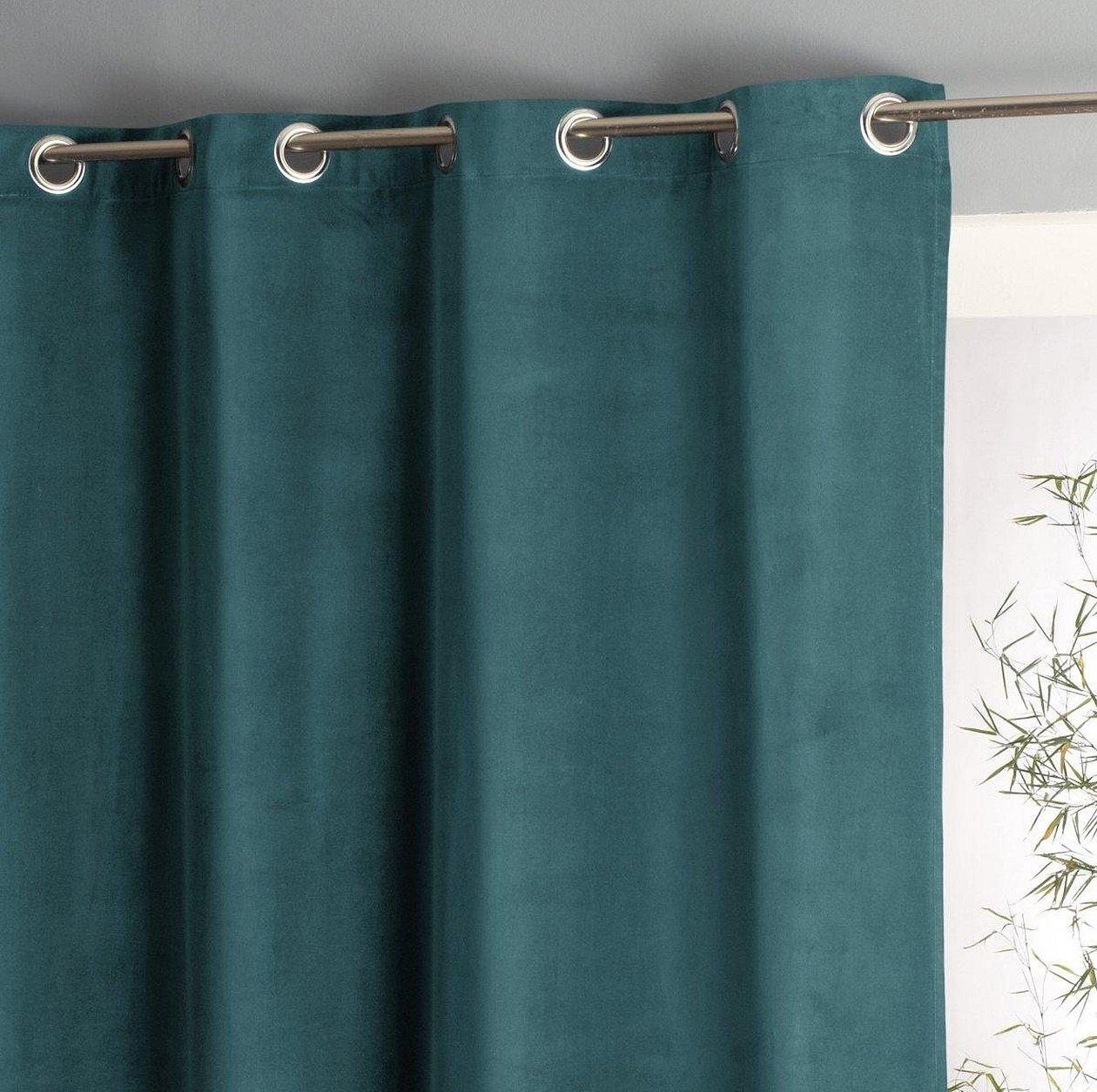 Зеленые бархатные шторы люверсы