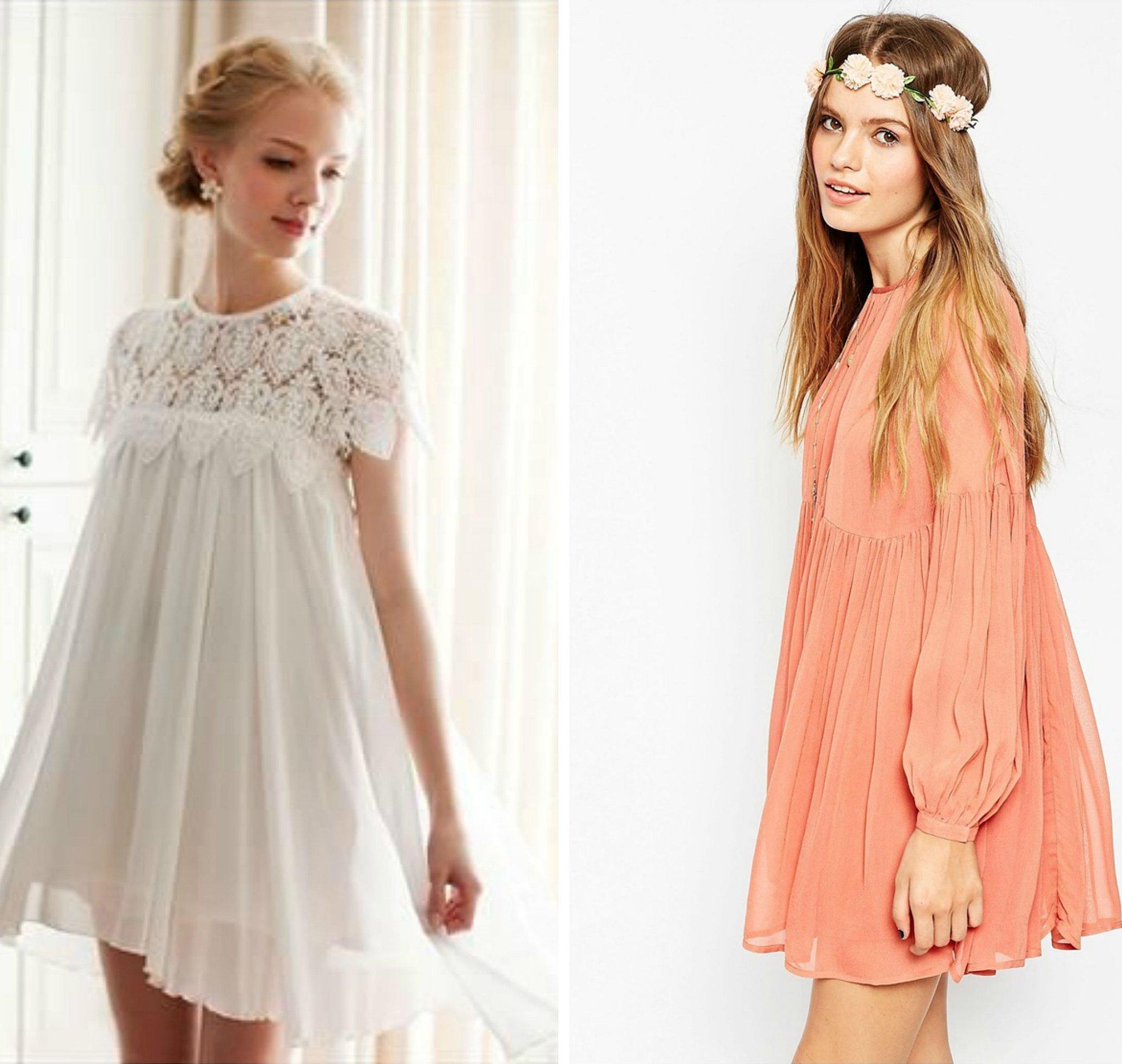 Белое платье baby doll