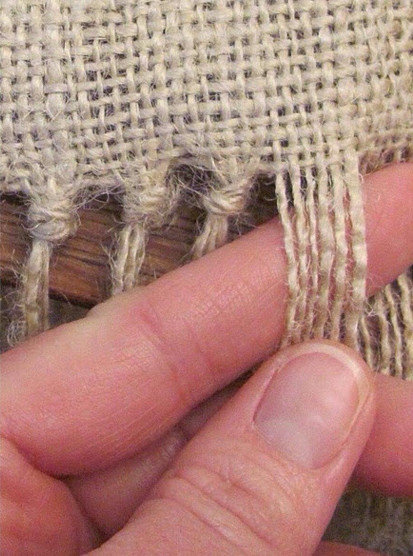 Ткань мешковина с бахромой