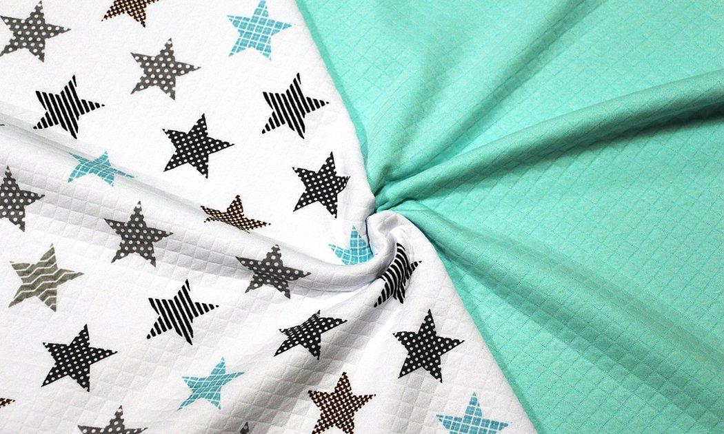 Ткань бязь звезды на мята