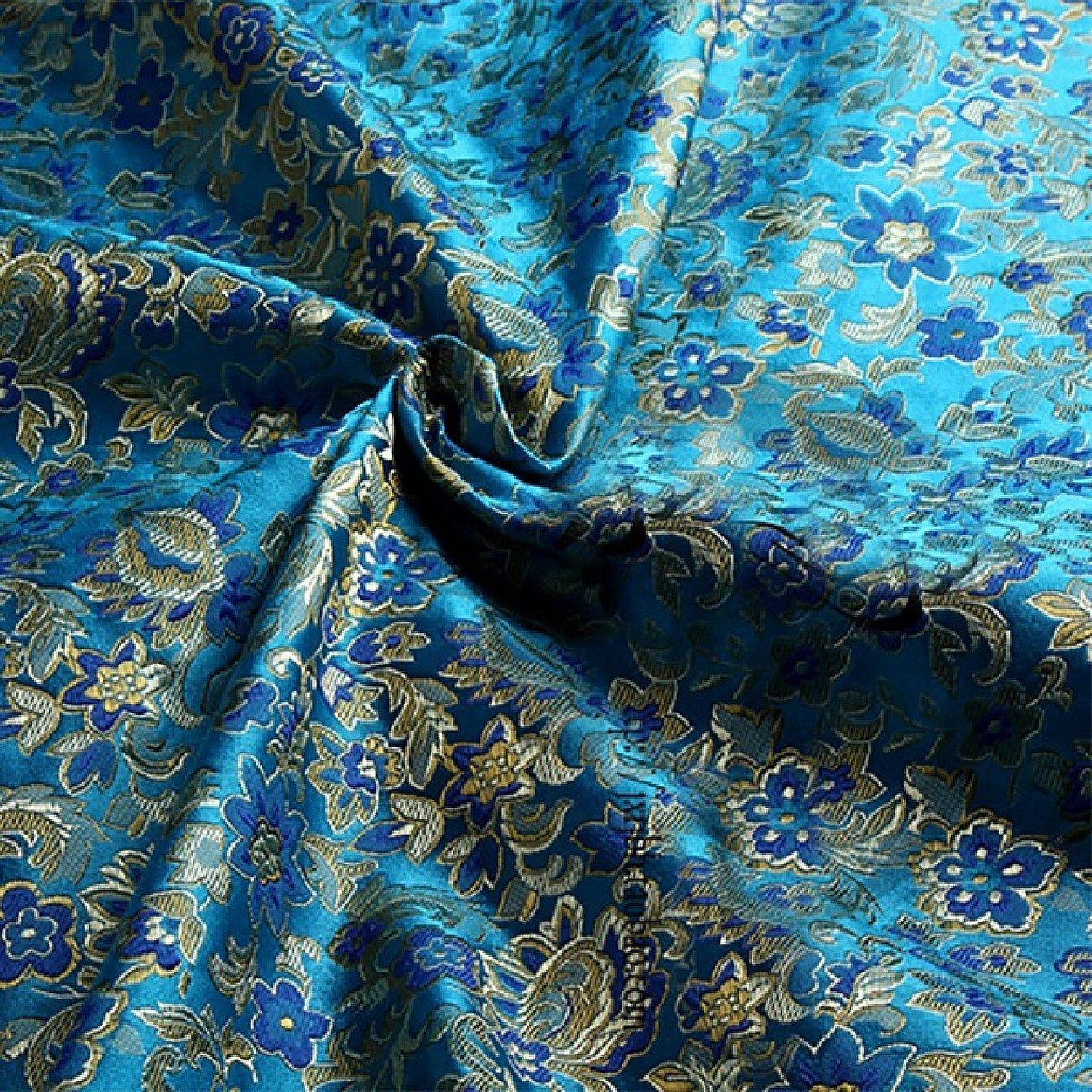 Ткань парча голубого цвета