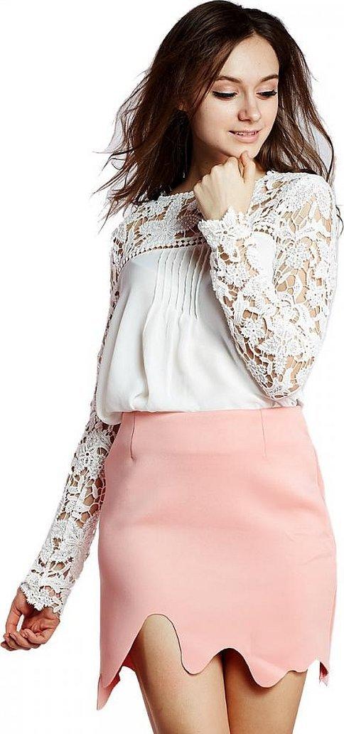 Ажурная кружевная блуза белая