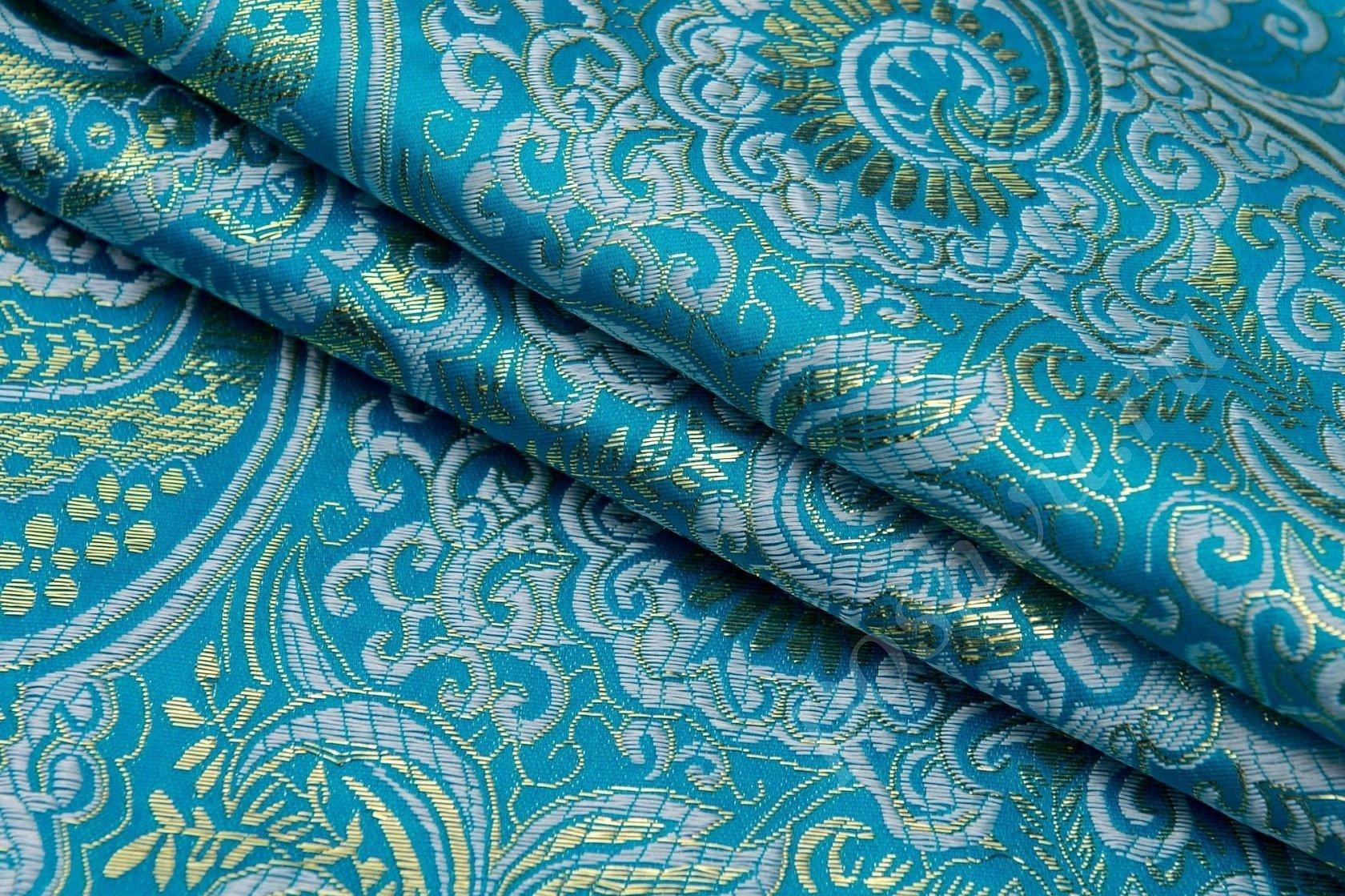 Голубая серебряная парча ткань